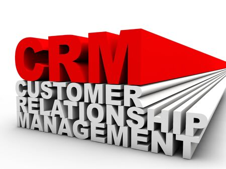 relation: red CRM Customer Relationship Management over white background