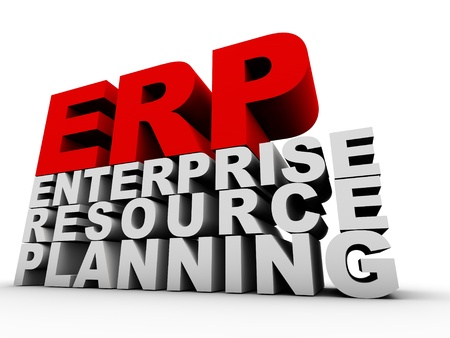 ERP Enterprise Resource Planning over white background photo