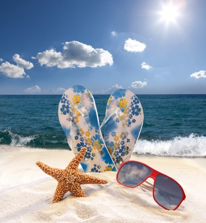 water shoes: Starfish, sunglasses and flip flops on the beach