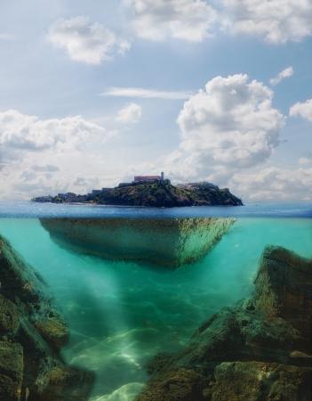 isla flotante: isla flotante con el faro en �l