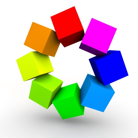 organization design: Multi Colored Cubes over white Background