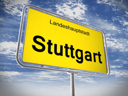 City limit sign of Stuttgart over blue sky Stock Photo - 16058059