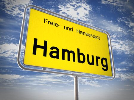 sky is the limit: City limit sign of Hamburgover blue sky