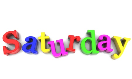 saturday: Saturday, day of the week multicolored over white Background