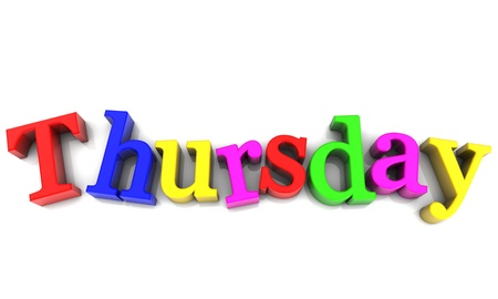 Thursday, day of the week multicolored over white Background Stock Photo - 17358048