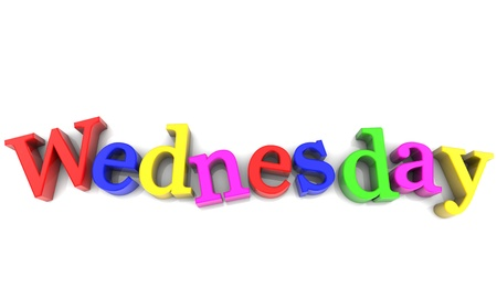 wednesday: Wednesday, day of the week multicolored over white Background Stock Photo
