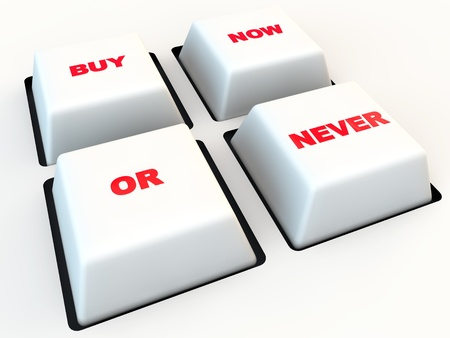 Button By now or never, over white background Stock Photo - 17358052