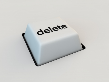 delete keyboard button over white background photo