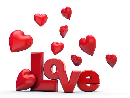 falling in love: The word love surrounded by hearts over white background
