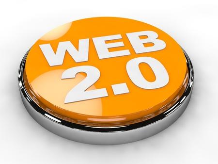 2 0: Button Web 2 0 over white background
