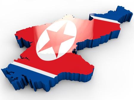 north korea map with korean flag photo