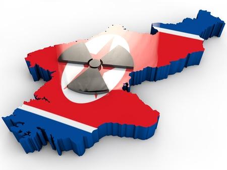 north korea: north korea map with korean flag
