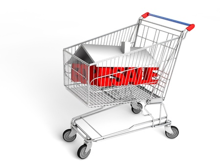 For sale House in shopping cart Stock Photo - 19163691