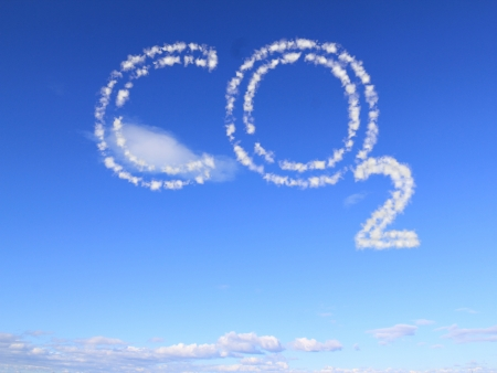 the word co2 as clouds in the blue sky Stock Photo