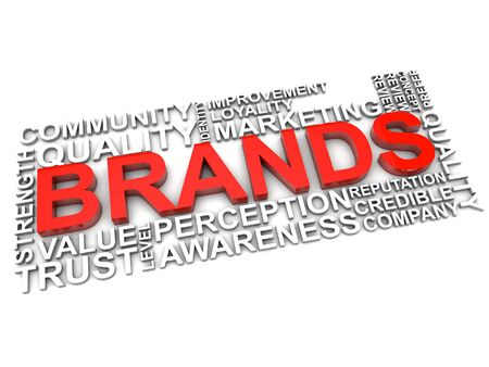 credible: word cloud brands over white background Stock Photo