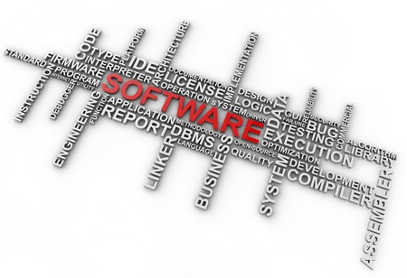 programm: Word cloud Software su sfondo bianco
