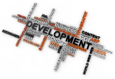 word cloud development over white background photo