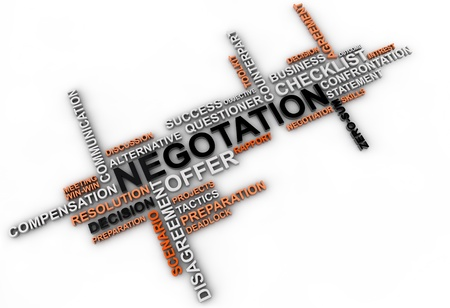 scenario: negotation word cloud over white cloud Stock Photo