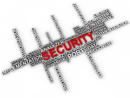 Security word cloud over white background photo