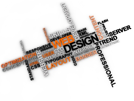 web design word cloud over white background Banque d'images