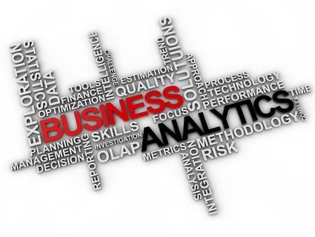 metrics: business analytics word cloud over white background