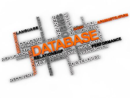 database word cloud over white background