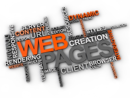web pages word cloud over white background Banque d'images