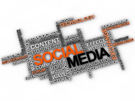 public transfer: Social media word cloud over white background Stock Photo