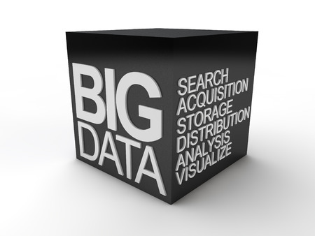 big data: Black Big Data Cube Stock Photo