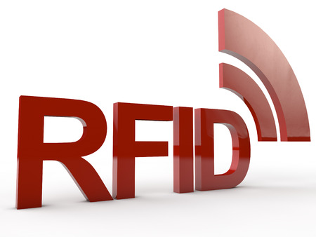 transponder: Red RFID Word with symbolic radio waves