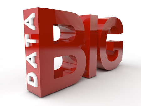 Big Data in red and white letters. Banque d'images