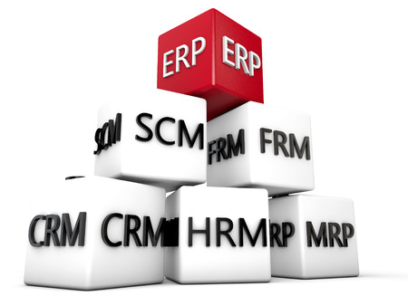 ERP and relevant Symbolic Cubes over white Background Banque d'images
