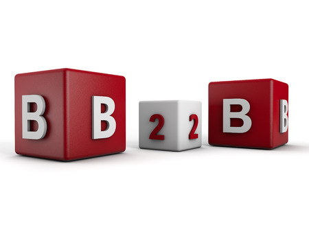 Symbolique B2B Business to Business sur fond blanc