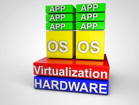 virtualizacion: Virtualizaci�n simbolizaba esquema sobre el fondo blanco Foto de archivo