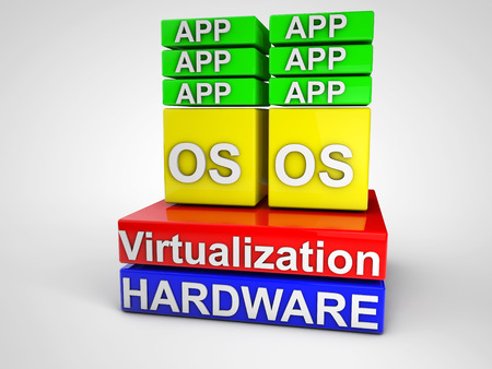 implementing: Virtualization symbolized schema over white background