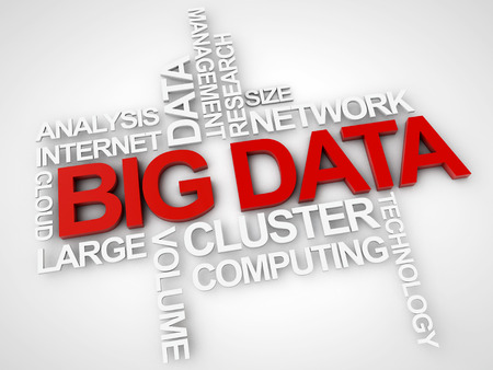 data distribution: Big Data surrounded by relevant words over white Background Stock Photo
