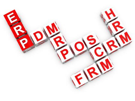 ERP Enterprise Resource Planning over white  photo