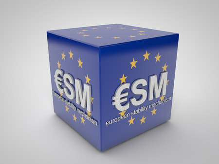 importation: ESM european stability mechanism on blue cube with european