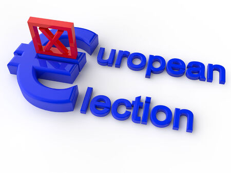electing: European Parliament Election over white Background