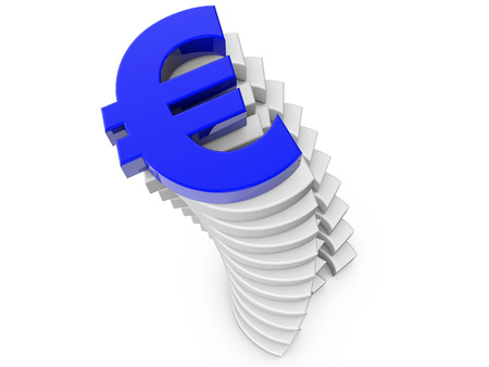 finacial: Blue Euro sign Stack of Euro signs over white background