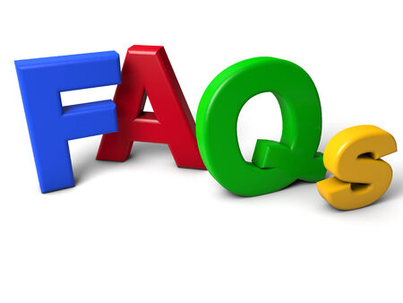 faq's: colorful FAQs Letters over white background
