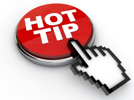 best practice: Hot Tip Button with cursor hand over white background Stock Photo