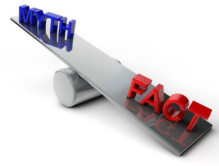 myth: Myth and Fact on a balance over white Background
