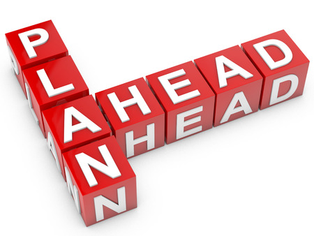 red Plan Ahead cubes over white background photo
