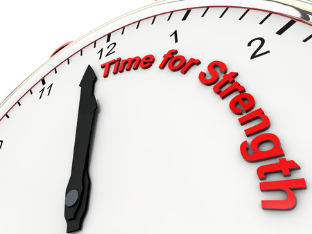 steadiness: Time for Strength on a alarm clock its 1 minute to twelve Stock Photo