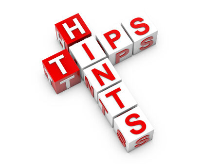 hints: Hints tips cubes over white background