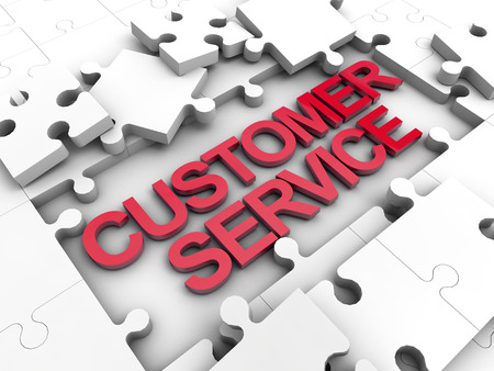 finacial: Customer Service puzzle tiles over white background