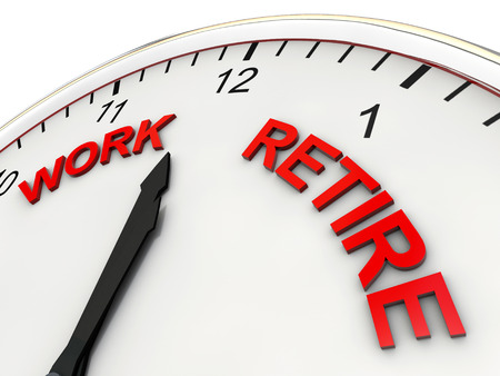 retire: Work Retire on a clock one minute to twelve Stock Photo