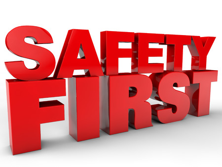 cautionary: Safety First - over white Background Stock Photo