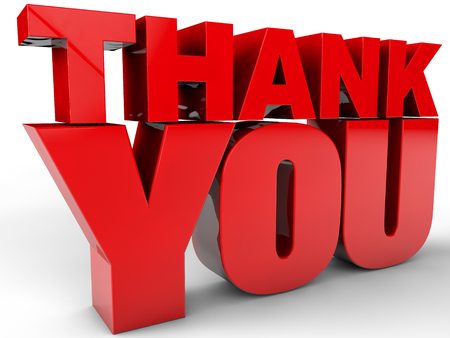 merci: Thank You - over white Background Banque d'images